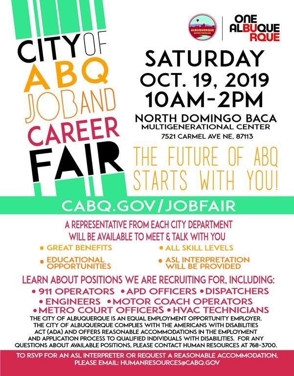 Job Fair Flyer Oct. 2019