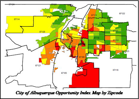 City of Albuquerque Opportunity Index Map by ZIP Code