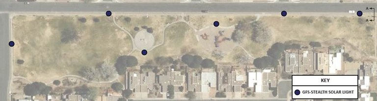 A satellite image of City View Park with markers of the new lighting that will be installed there in 2020.