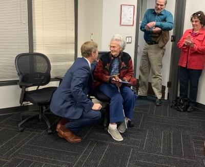 A JPG of Ruth receiving Nov. 2019 the One Albuquerque Award