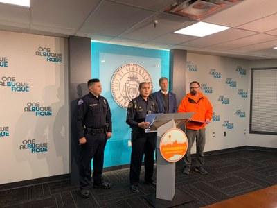 A JPG of Sgt. Pete Silva receiving Nov. 2019 the One Albuquerque Award
