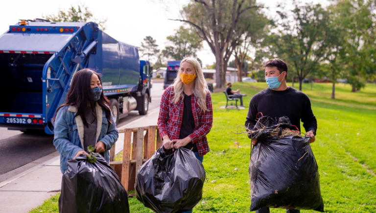 A team of volunteers collecting trash