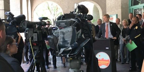 Mayor Tim Keller at a press release