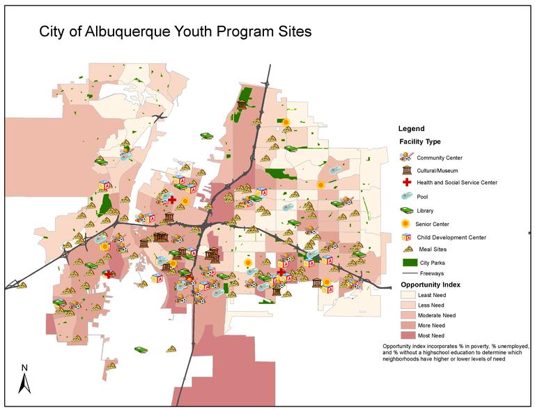 A jpeg of City of Albuquerque Youth Program Sites