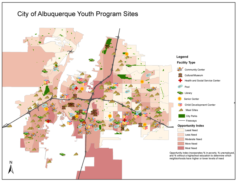 A jpeg of City of Albuquerque Youth Program Sites