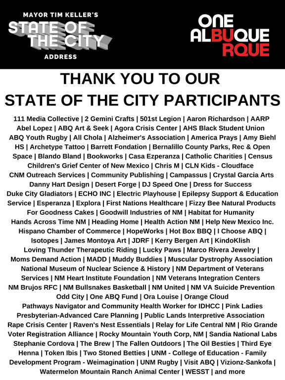 A JPEG of State of the City 2020 Participants.