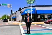 Mayor Tim Keller Unveils New Rainbow Crosswalks ahead of ABQ PrideFest