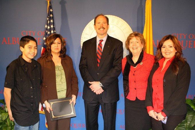 Joshua Baca, Betty Baca, Mayor Berry, Director Robin Otten, Supervisor Connie Sedillo.
