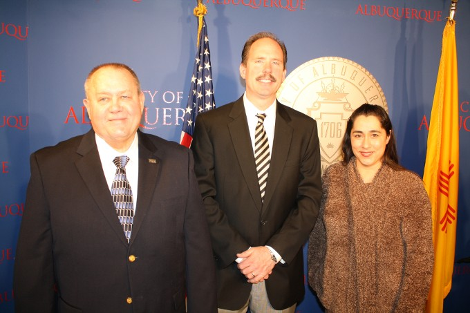 From left, Finance Director Lou Hoffman, Mayor Richard Berry, and Daphany Martin