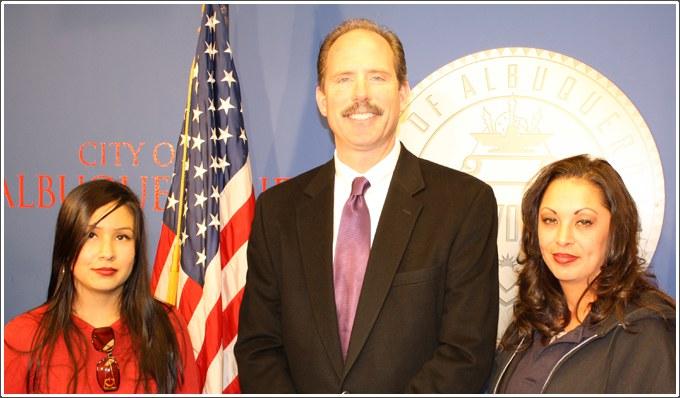 Susanna Serna & Jericha Baca with Mayor Berry