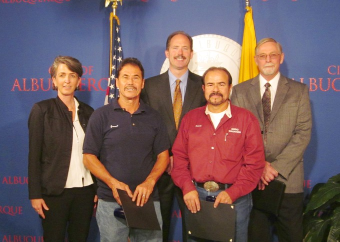 From left, Solid Waste Management Deputy Director Jill Holbert, Genero Tafoya, Mayor Richard J. Berry, Frank Gonzales, and Solid Waste Director John Soladay. Tafoya and Gonzales were named Employees of the Week for Aug. 30, 2010.