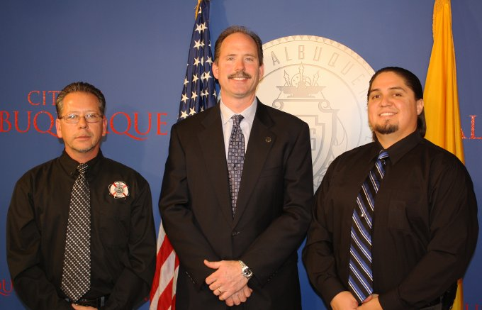 From left, Lee Madrid, Mayor Richard J. Berry, and Stephen Madrid.