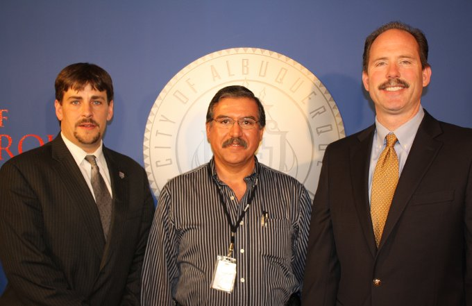 From left, Municipal Development Director Michael Riordan, Tony Gurule, and Mayor Richard J. Berry.