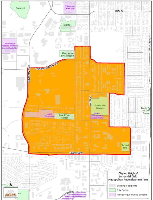 A map of the Barelas Metropolitan Redevelopment Area