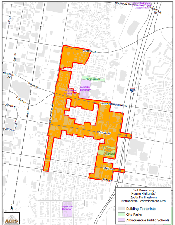 A map of the Barelas Metropolitan Redevelopment Area