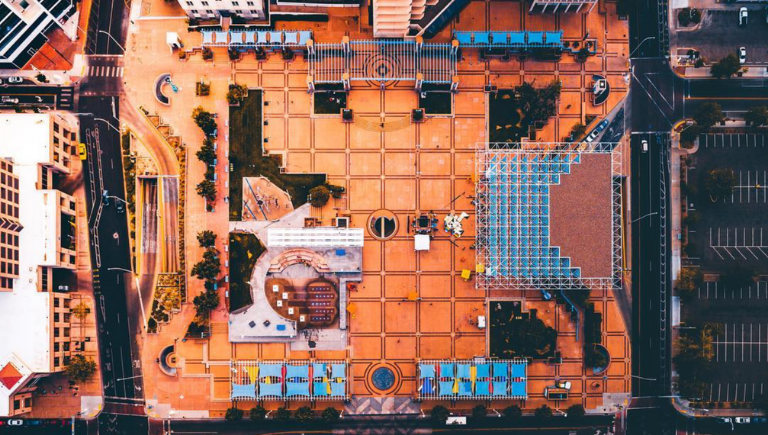 A bird's eye view of Civic Plaza