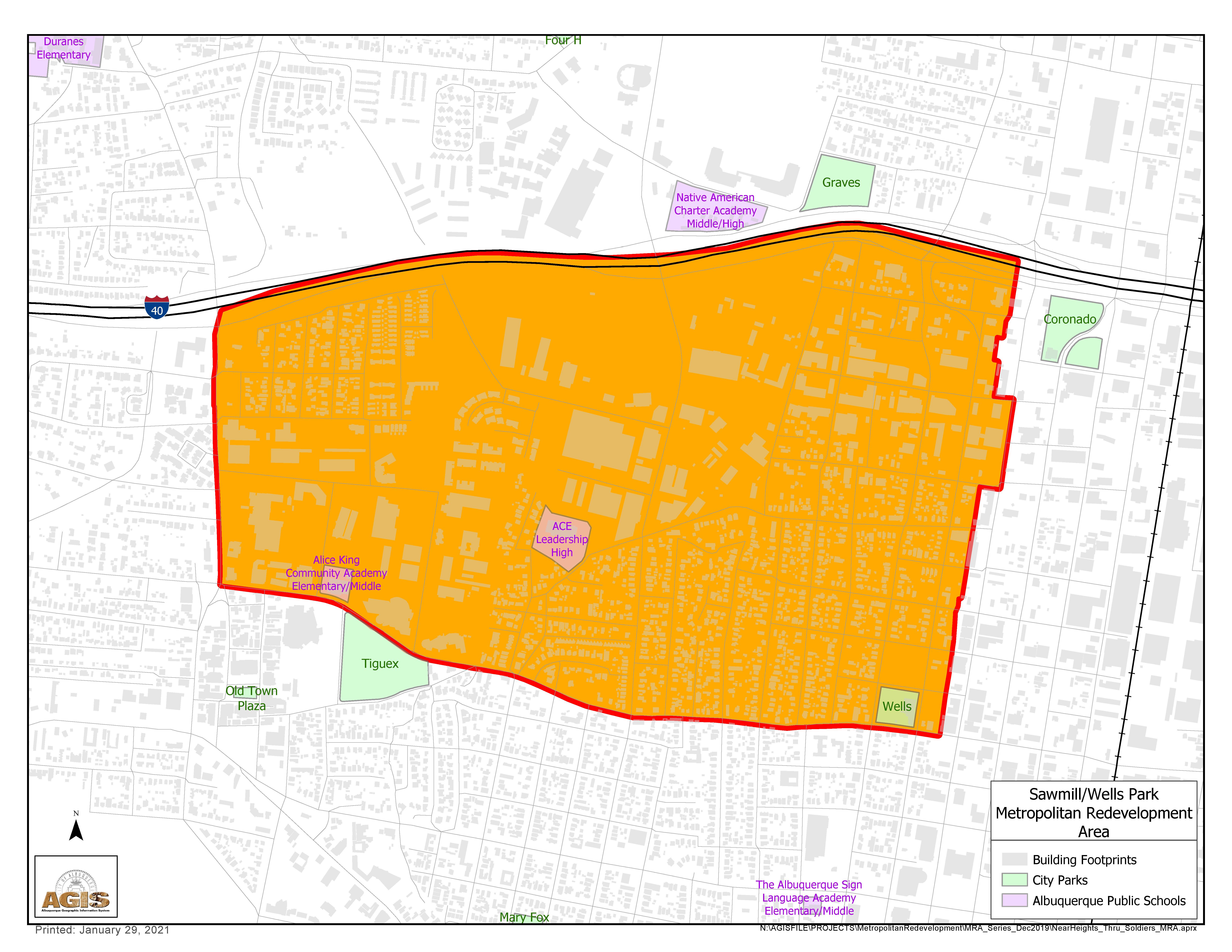 Sawmill Wells Park MRA Map