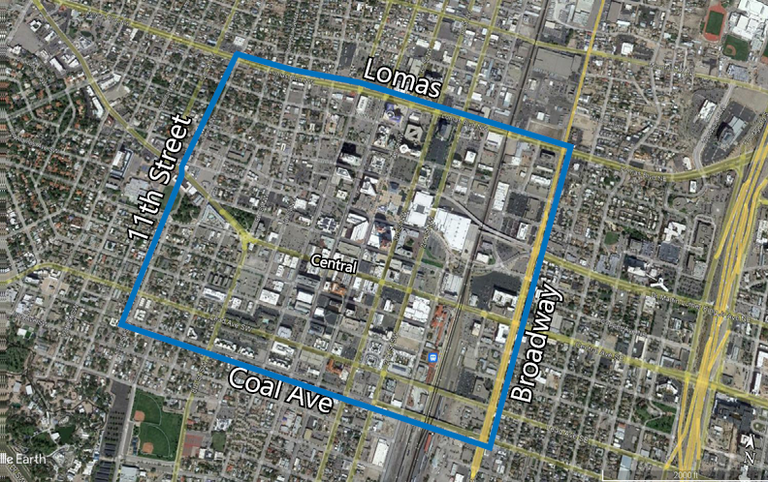 A map of Eligible Downtown Storefronts (generally defined as the area between Lomas Avenue, Coal Ave, 11th Street and Broadway)