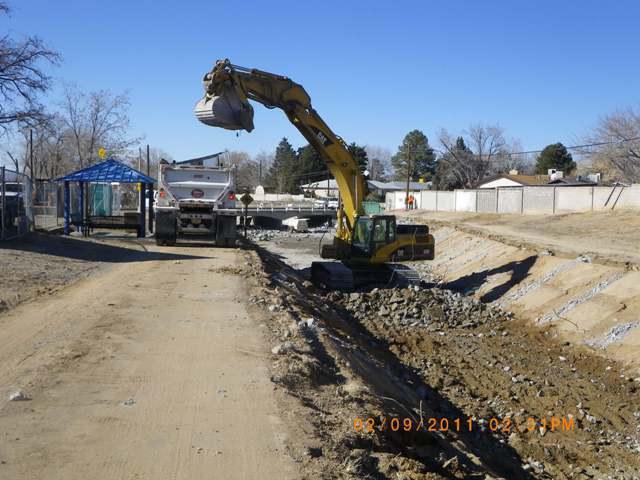 Removing concrete lining east of san pedro bridge