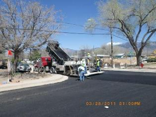 Repaving the streets after installing the storm drains on Moon st