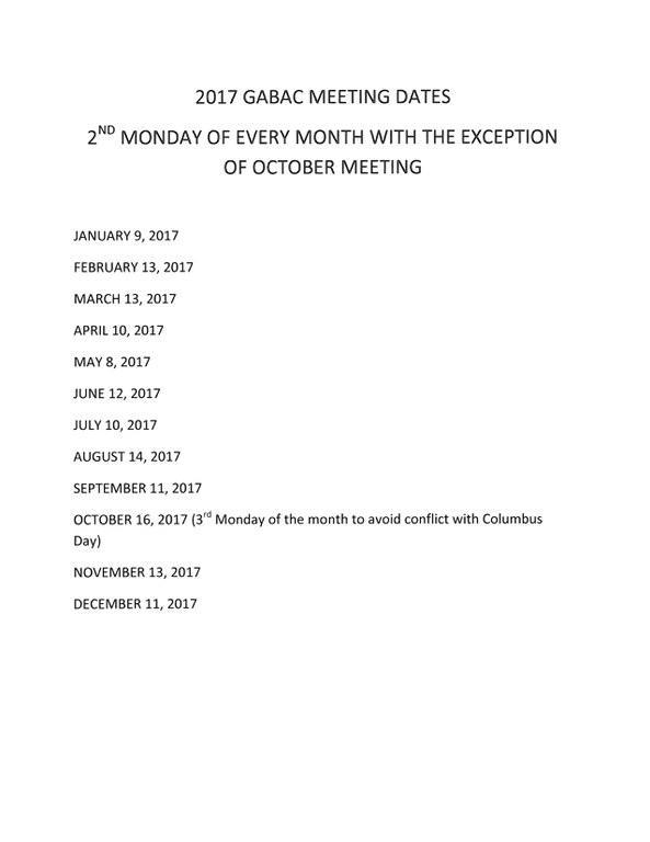 2017 GABAC meeting dates