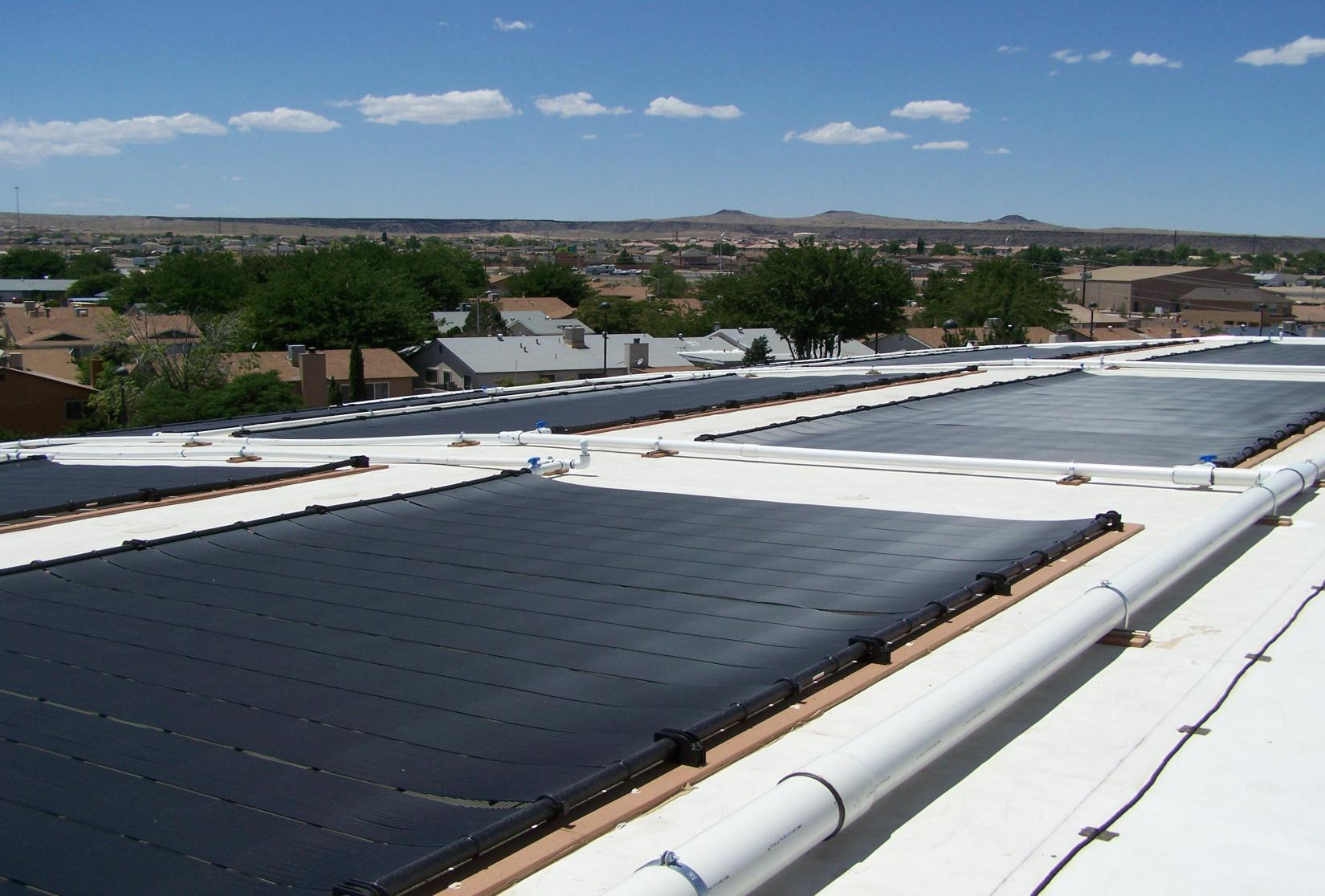 A photo of a solar array at the West Mesa Pool.