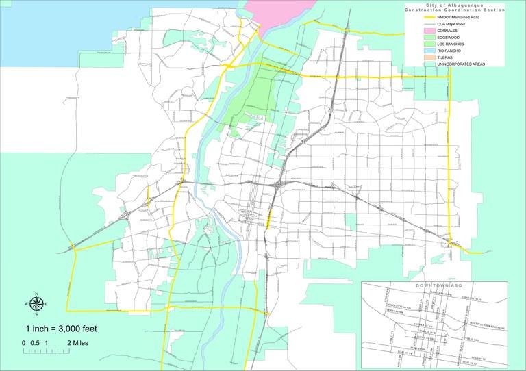 Construction Services Major Roadways Map