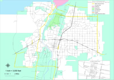 A map highlighting the major roadways in the City of Albuquerque right-of-way.