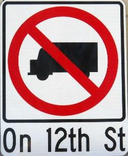 No Trucks Allowed Sign Image