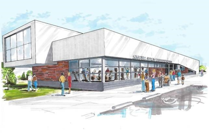 Artist rendering of what the new Singing Arrow Community Center will look like once completed