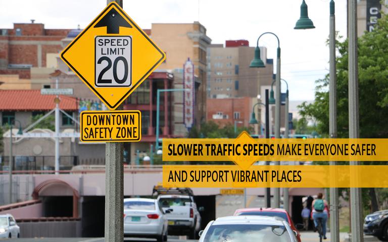 Vision Zero 20 MPH Sign Down Town