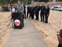 Mayor Tim Keller, City Councilors Roll Out School Crosswalk Improvements as Students Head Back to School