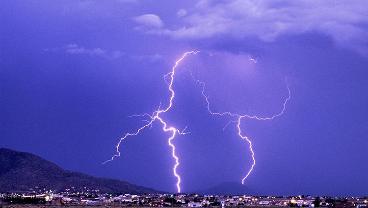 Blue Lightning over the Sandias at Night