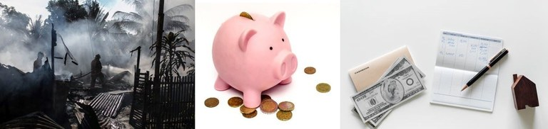 An image of a fire, a piggy bank, and some change. Save early for disaster!