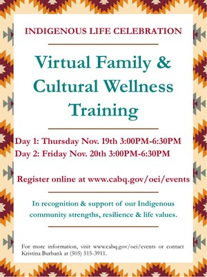 Event: Indigenous Life Celebration: Virtual Family & Cultural Wellness Training (DAY 1)