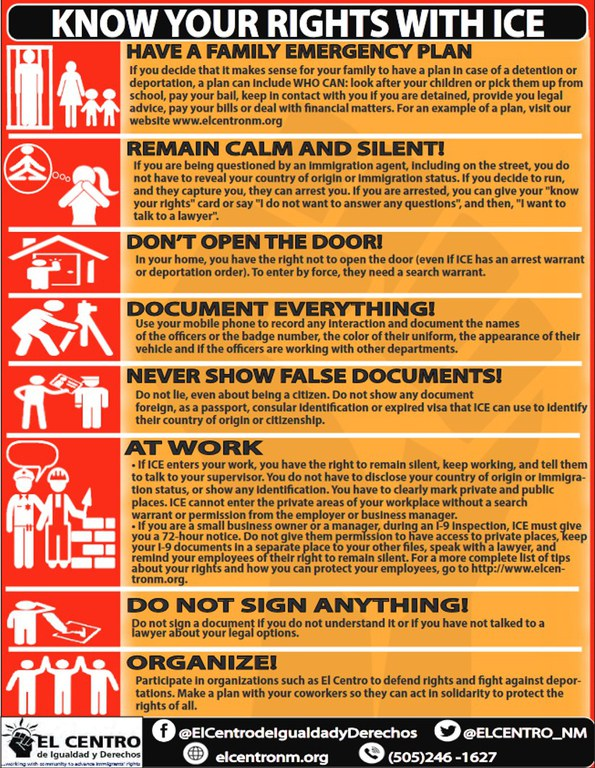 Know Your Rights with ICE Graphic