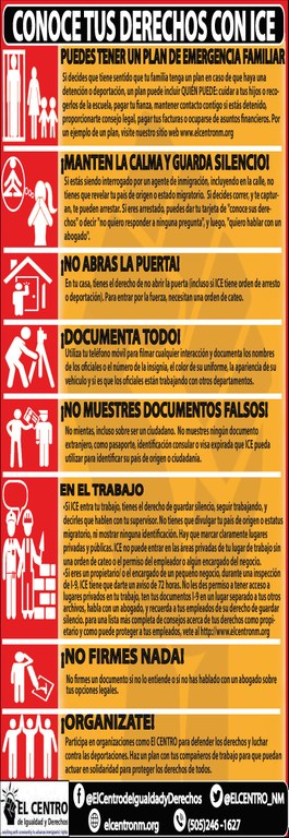Know Your Rights With ICE Inforgraphic: Spanish