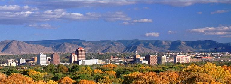 A fall landscape of the Albuquerque bosque
