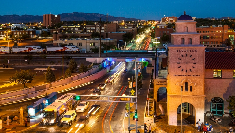 Alvardo Transit Center and Central Avenue at night