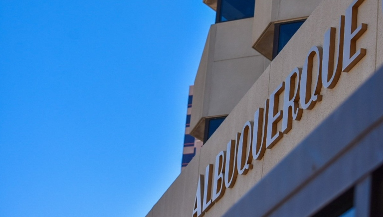 The Albuquerque sign above the entrance of City Hall.