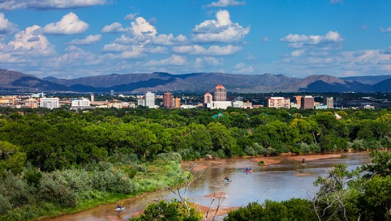 The City of Albuquerque, Rio Grande River, and Sandia Mountains