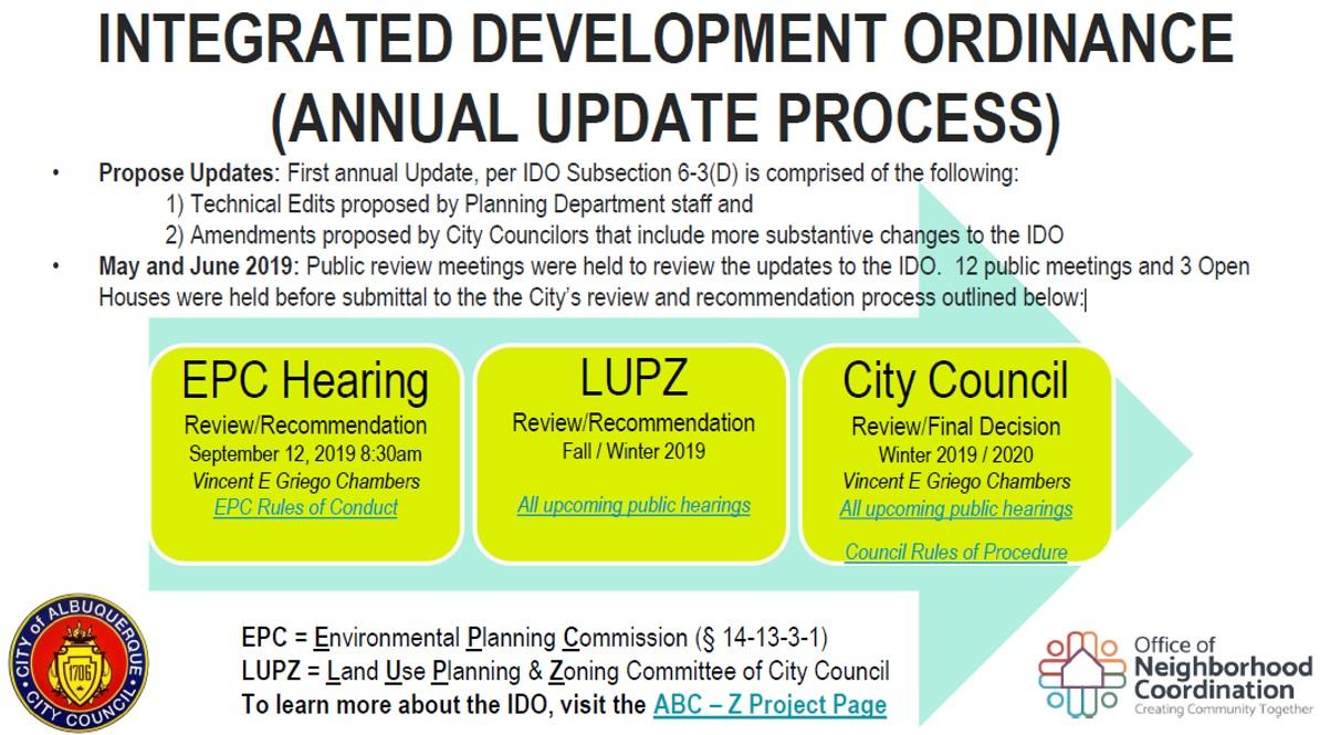 Integrated Development Ordinance Annual Update Process: Aug. 2019 Flier