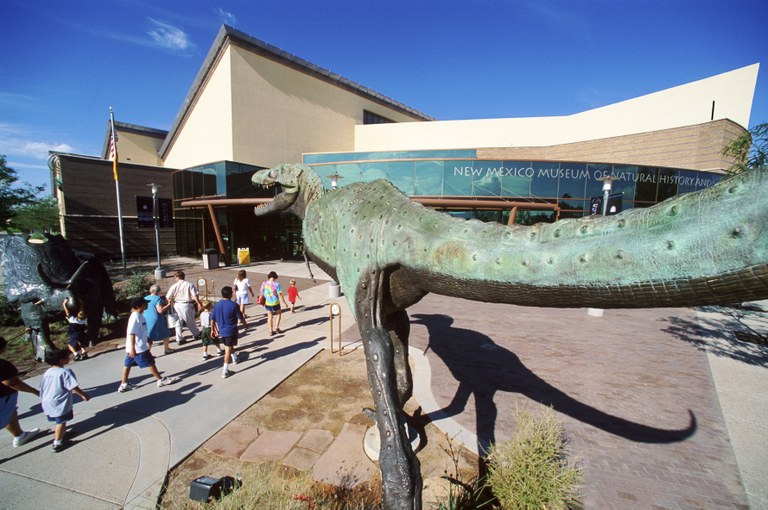 Front of History Museum with Dinosaur
