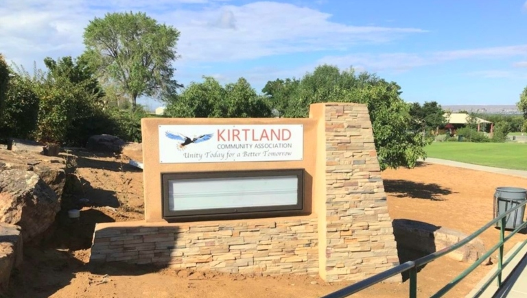 The sign for the Kirtland Community Association