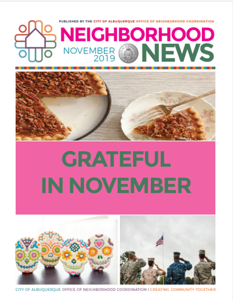 The Nov. 2019 cover of the Neighborhood Newsletter featuring images of pecan pie, sugar skulls, and military members saluting the U.S. Flag.