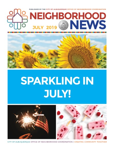 The July 2019 cover of the Neighborhood Newsletter featuring sunflowers, sparklers, and popcicles