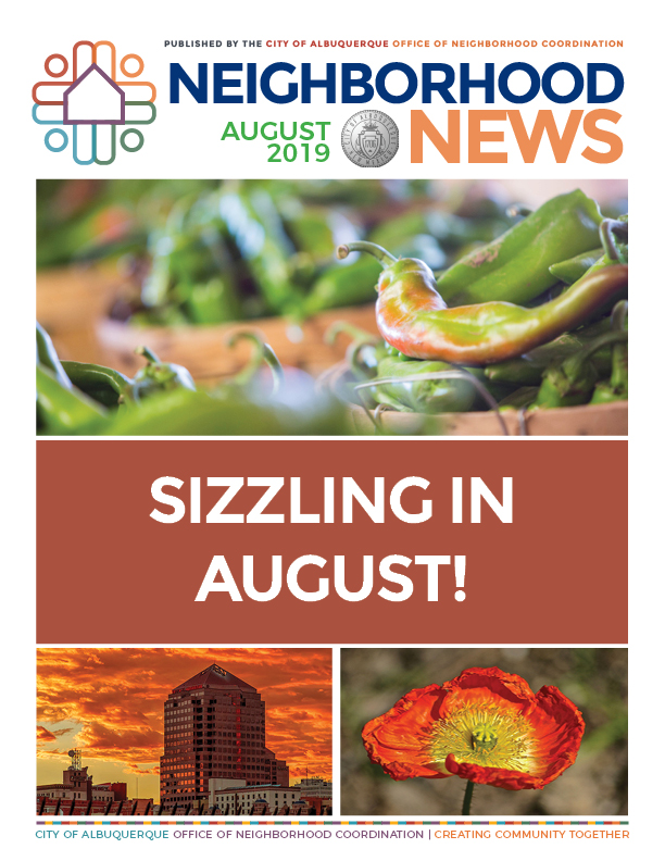 The Agust 2019 cover of the Neighborhood Newsletter featuring green chile, the downtown skyline at sunset, and an orange poppy flower blossom.