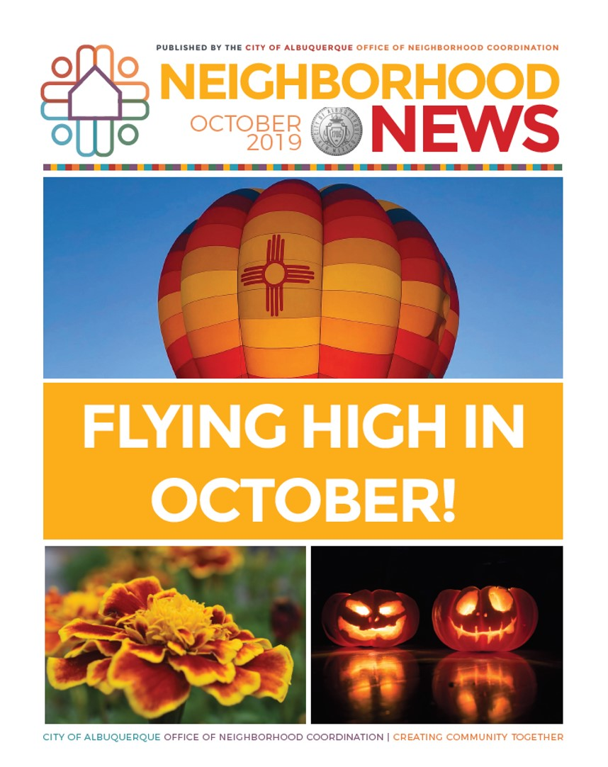 The Oct. 2019 cover of the Neighborhood Newsletter featuring a hot air balloon, marigold blossom, and jack-o-lanters.