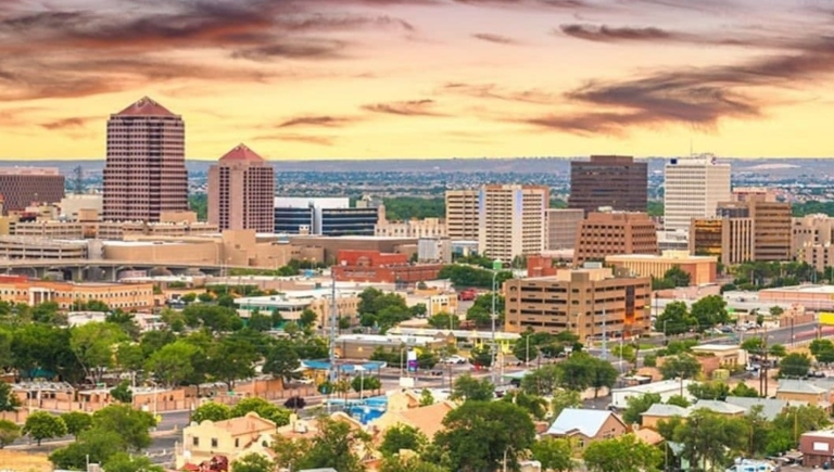 Downtown Albuquerque at sunset