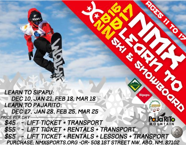 Flyer of the 2016-17 season of skiing and snowboarding information from NMX.